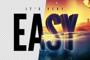 炫酷3D立体水面漂浮文字样式PSD分层模板 Underwater Text Logo Effect插图7