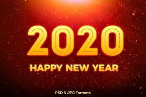 新年立体金色渐变色效果字体样式PSD分层模板v3 New Year 2020 V3插图1