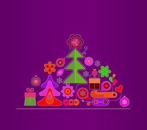 圣诞树线条艺术矢量插画素材 6 options of a Christmas Background插图3