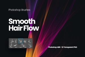丝滑头发波纹图案PS笔刷 Smooth Hair Flow Photoshop Brushes插图1