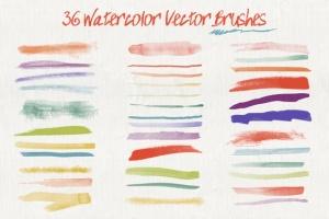 36款水彩画AI画笔笔刷&水彩质感肌理纹理 Set of Watercolor Brushes and Textures插图(2)