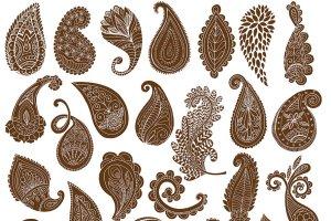 波西米亚风格艺术线条插图素材 Boho Paisley Line Art Illustrations插图3