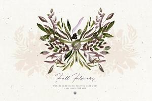 秋天手绘水彩花卉插画设计素材 Fall Flowers插图2