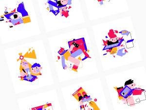 一流设计素材网下午茶:矢量创意人物插画素材下载[AI,Sketch,Fig]插图5