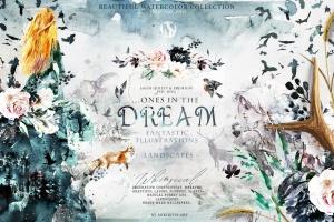 """高品质梦幻水彩矢量插画素材大合集[1.88GB] Fantasy illustrations """"Once in the dream""""插图1"""