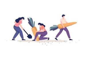 农作物收割场面矢量插画素材 People Harvesting Vegetables插图2