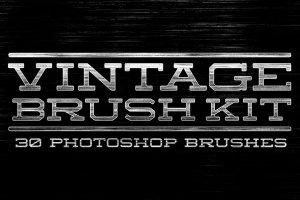 复古怀旧风格文本图层样式PS笔刷 Vintage Brush Kit插图(1)