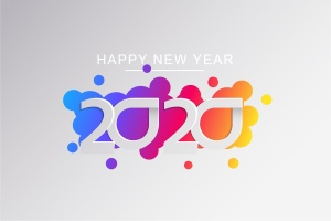 2020新年数字彩色矢量设计图形素材 2020 Happy New Year Greeting Card插图5