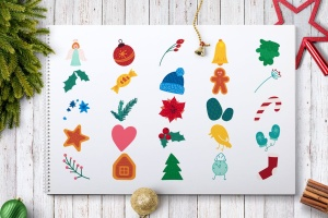 圣诞节&冬季主题贴纸图案矢量设计素材包 Christmas And Winter Stickers Set插图3