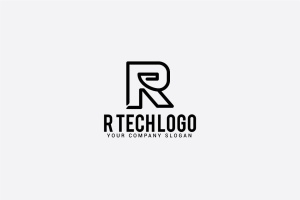 创意字母Logo模板系列之字母R R tech logo插图2