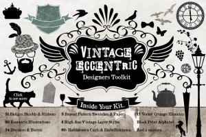 复古怪诞时尚设计矢量素材包 Vintage Eccentric Designers Toolkit插图1