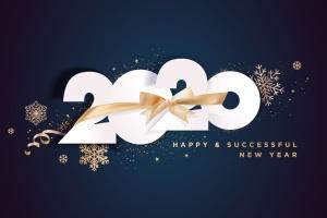 圣诞节庆祝暨迎接2020年主题矢量插画设计素材v3 Business Happy New Year 2020 greeting card插图1