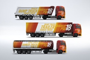 半挂车半挂卡车外观喷漆图案样机模板 Trucks Mock-Up插图2
