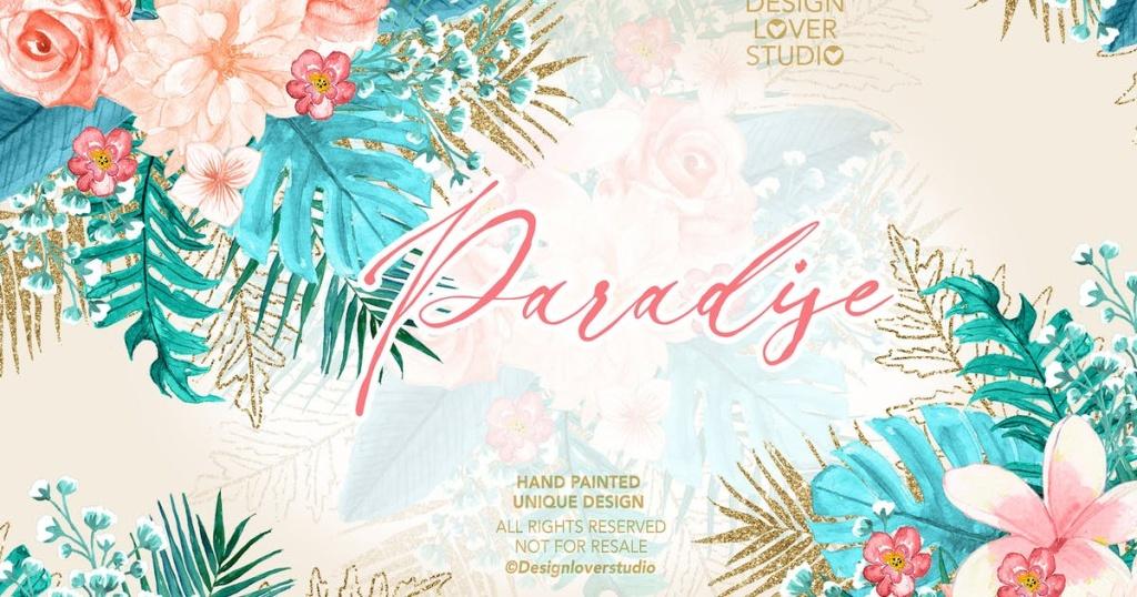 热带花卉植物水彩插画设计素材 Paradise design插图