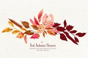 秋天红色水彩手绘花卉剪贴画PNG素材 Red Autumn Flowers插图4