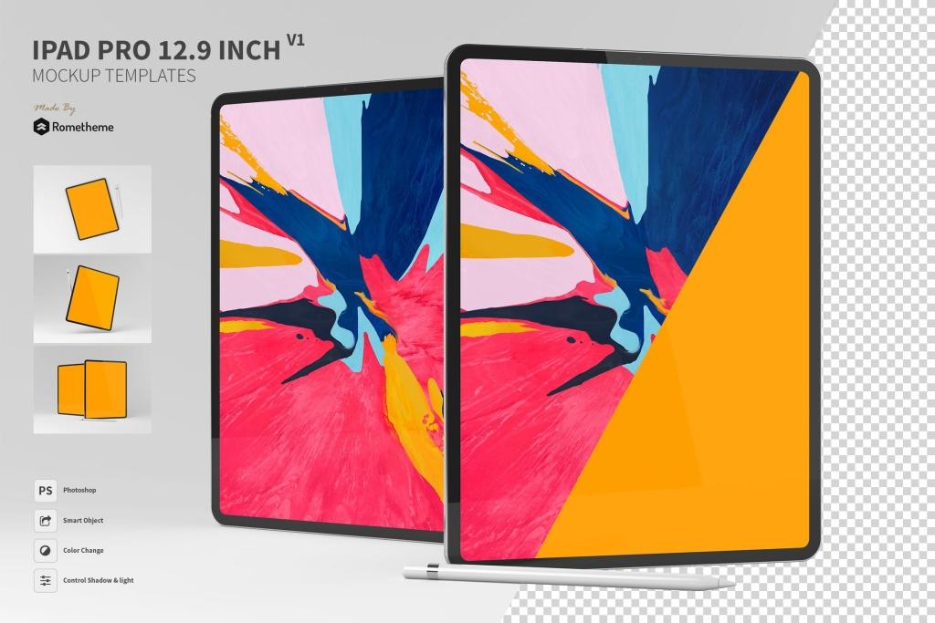 iPad Pro平板电脑UI设计预览样机模板 Ipad Pro 12.9 inch Mockup Template vol.01插图