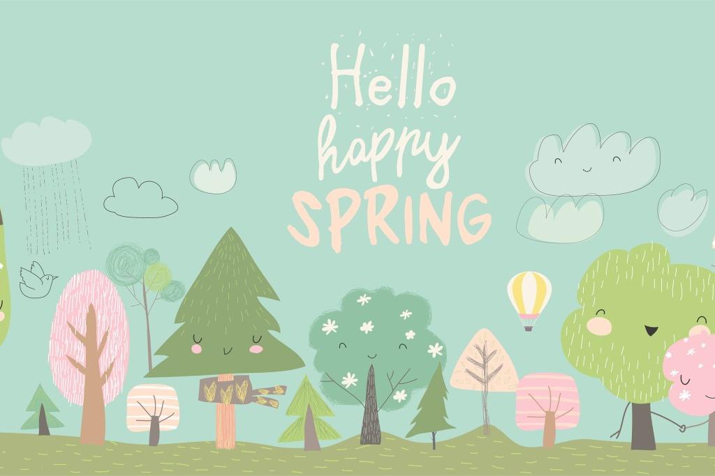 卡通风格森林简约手绘矢量图案素材 Cute spring trees. Cartoon spring tree on blue bac插图