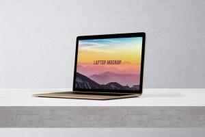 笔记本电脑屏幕演示样机模板 14×9 Laptop Screen Mock-Up – Gold插图5