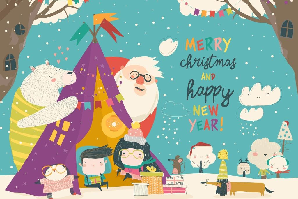 卡通儿童/动物/圣诞老庆祝圣诞节场景矢量插画素材 Kids celebrating Christmas with animals and Santa插图