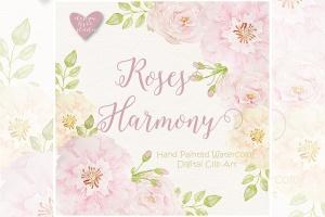 腮红玫瑰水彩插画剪贴画素材 Watercolor Rose Blush design插图1
