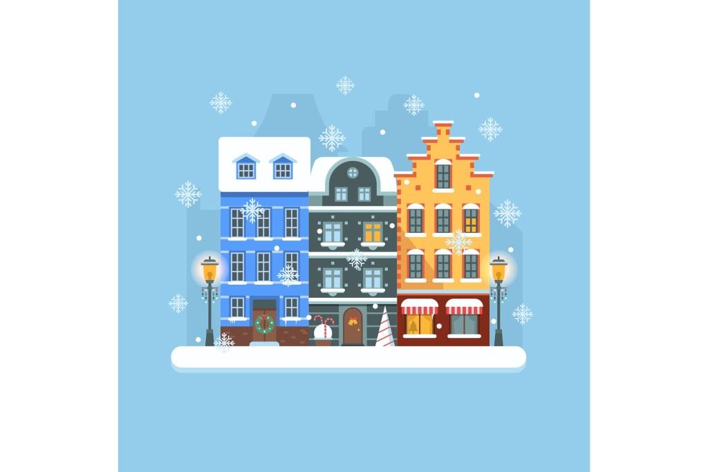 欧洲圣诞节小镇矢量插画素材 Europe Christmas Snow Town Street插图