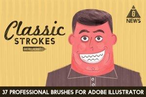 高品质AI手工画笔合集 Classic Strokes by Guerillacraft插图1