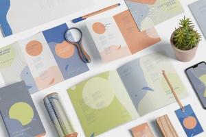 创意品牌VI视觉设计办公用品套装等距网格样机模板 Stationery Mockup Scenes插图3