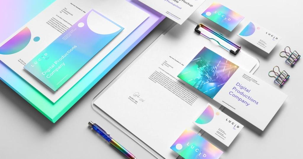 品牌VI设计效果预览办公用品套装样机模板v1 Lucid Branding Mockup Vol. 1插图