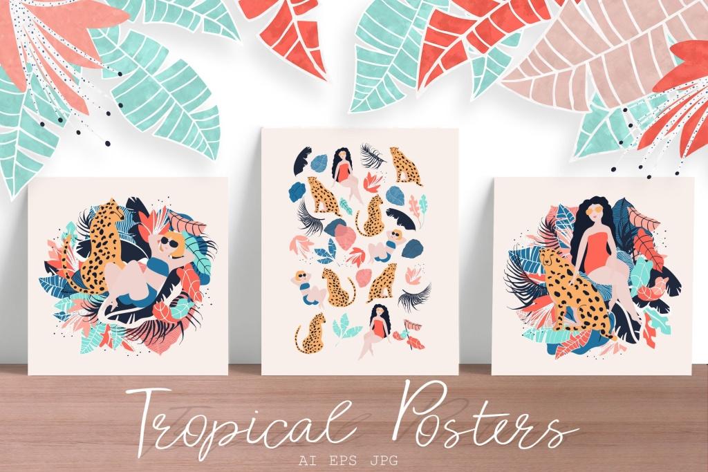 热带性感女郎手绘矢量插画设计素材 Tropical Girls vector posters插图