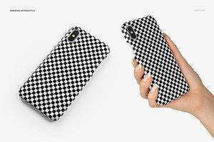 逼真的iPhone X塑料材质手机壳样机展示模型mockups插图14