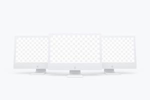 "iMac苹果一体机Web网页界面设计效果图样机模板02 Clay iMac 27"" Mockup 02插图1"
