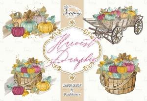 丰收季节秋天农场手绘图案PNG素材 Harvest Pumpkin design插图2