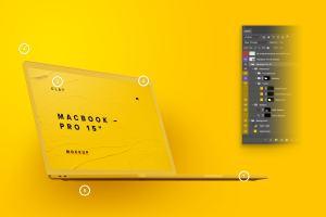陶瓷黏土材质MacBook Pro笔记本电脑左前视图样机 Clay MacBook Pro 15″ with Touch Bar, Front Left View Mockup插图5