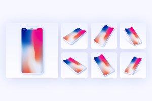 一流设计素材网下午茶:7款最受欢迎的iPhone X Clay模型 Mockups插图10