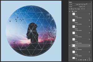 12个破损几何图形背景PSD分层模板 Instagram Textured Geometric Masks插图5