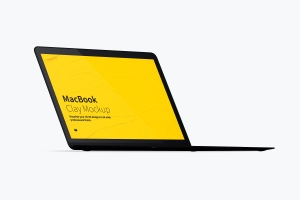 MacBook高端笔记本屏幕演示左前视图样机 Clay MacBook Mockup, Front Left View插图4