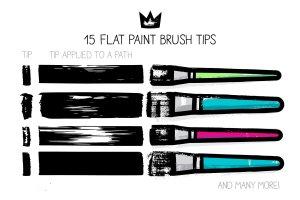 扁平笔头绘画笔画AI笔刷 AI flat paint brushes插图4