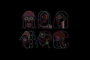 六幅霓虹灯肖像线条艺术矢量插画 Six Portraits Neon and 2 Line Art Options插图1