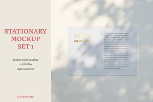 品牌VI设计系统办公用品印刷品套件样机 Stationary Mockup — Set 1插图1