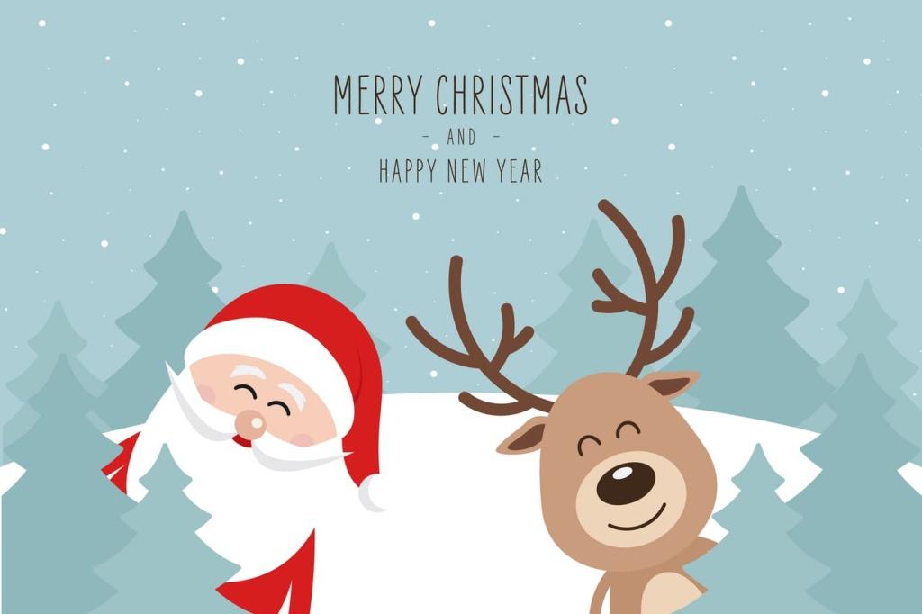 可爱圣诞老人和驯鹿圣诞节主题矢量设计素材 Christmas Cute Santa Claus and Reindeer Vector插图