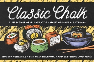 经典粉笔画黑板画AI笔刷 Classic Chalk – Brushes + Patterns插图1