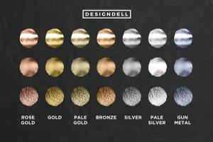 各种金属色图层样式 Foiled Photoshop Styles插图3