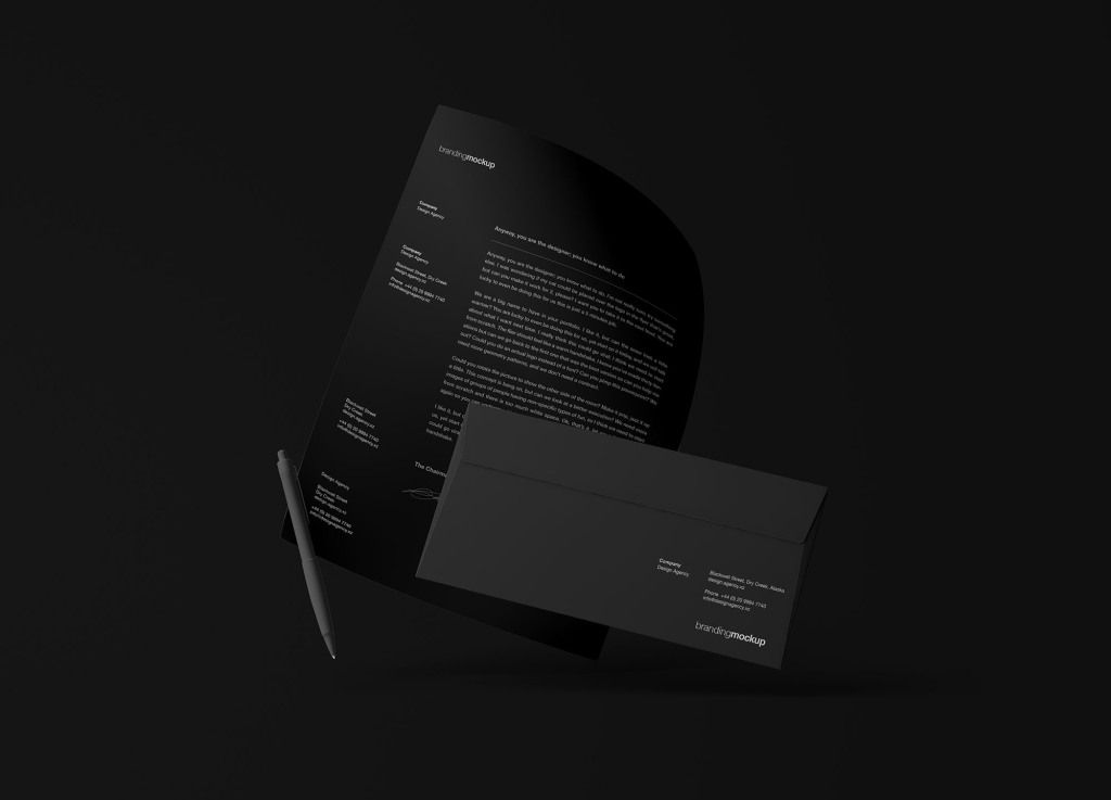 悬浮状态的信封&信纸设计效果图样机模板 Floating Branding Mockup插图