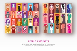 抽象手绘人物形象矢量插画素材 Set of People Portraits vector illustration插图1