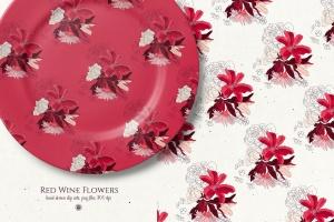 酒红色水彩手绘花卉PNG素材 Red Wine Flowers插图5