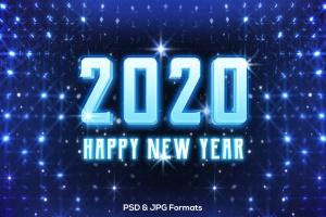 蓝色新年发光效果字体样式PSD分层模板v2 New Year 2020 V2插图2