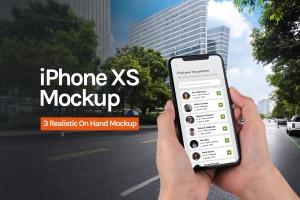 iOS应用界面设计效果预览iPhone XS手机样机模板 iPhone App Mockup 1.0插图1