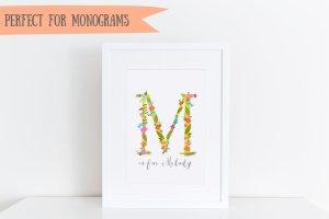 时尚的手绘花卉字母装饰图  Funky floral alphabet插图3