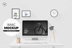 iMac办公桌面场景样机 iMac mockups with Table插图1