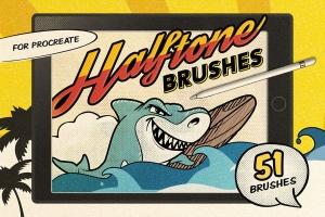复古美式漫画效果生成Procreate笔刷 Vintage Comic Procreate Brushes插图1